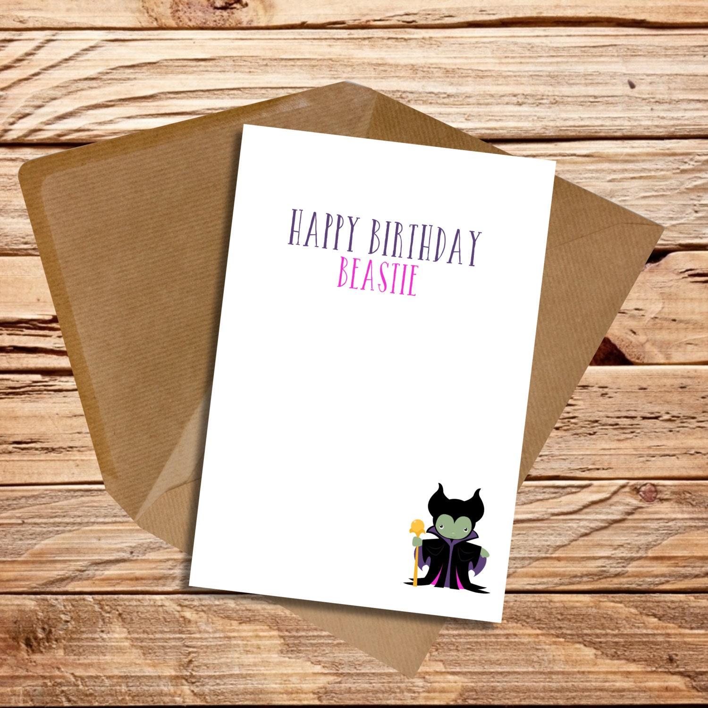 Funny birthday card best friend beastie Maleficent fan