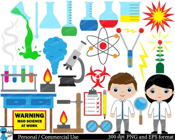 Mad scientist and laboratory - Set Clipart - Digital Clip Art Graphics ...
