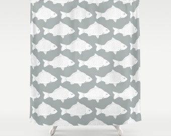 45 colors Fish Shower Curtain, Fish Bathroom Decor, Lake Shower Curtain, Nautical Shower Curtain, Kid Bathroom, Lake Bathroom, 30 colors