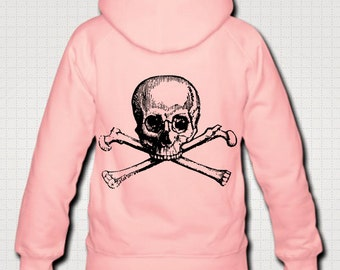 Skull and Crossbones Vintage Art Illustrated Women's Hoodie With Backprint *Pink White Purple Or Grey*
