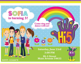 Customized Hi-5 Printable Birthday Invitation
