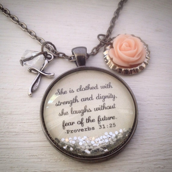 She Is Clothed With Strength And Dignity Bracelet: Proverbs 31 Necklace Bible Verse Necklace She Is Clothed In