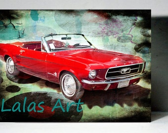 Vintage Retro Style Art Old Timer 1967 Red Ford Mustang Car Painting Home D Cor Wall