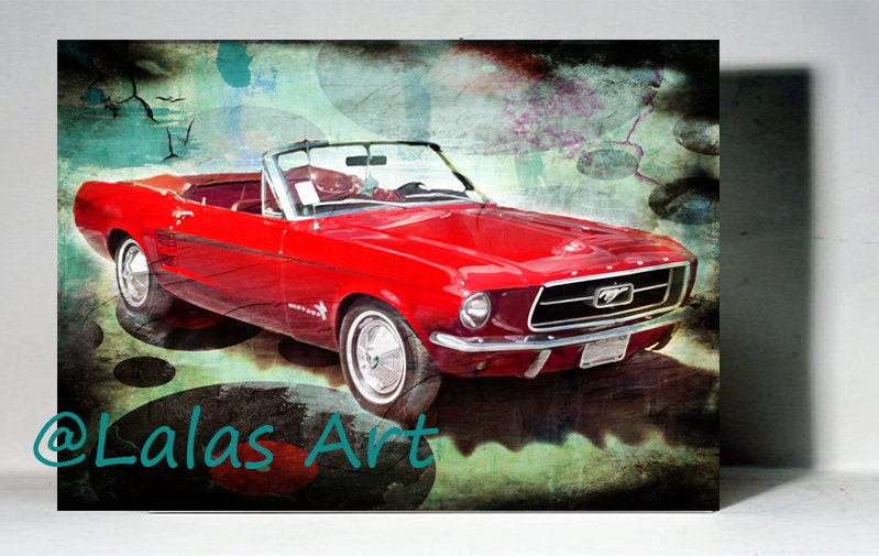 vintage retro style art old timer 1967 red ford mustang mustang garage houzz