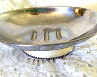 Antique Oval Metal Tray Chipped Paint Shabby