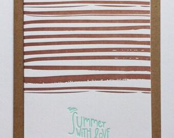 WAVES I / letterpress postcard handmade in Bordeaux