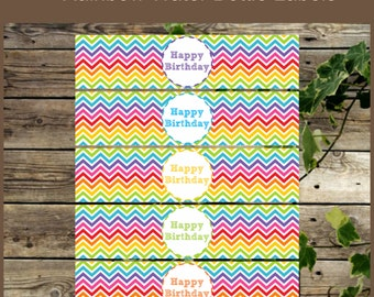 Rainbow Printable Water Bottle Labels, Rainbow Birthday Party, Instant Download, DIY Drink Label for Birthday Party, Birthday Decoration