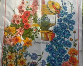 Teatowel ballarat botanical gardens bright colors Irish linen vintage cottage garden