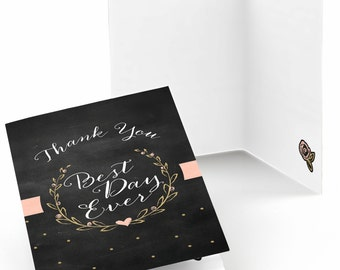 Set of 8 Thank You Cards - Best Day Ever - Gold Note Cards