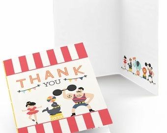 Circus / Carnival - Thank You Cards - Vintage Circus Thank You Cards - Baby Shower or Birthday Party Supplies - Set of 8 Folding Note Cards
