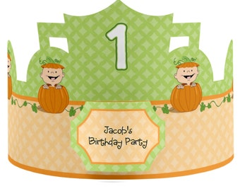 8 Custom Little Pumpkin Caucasian Party Hats - Birthday Party Hats - Party Supplies - 8 Count