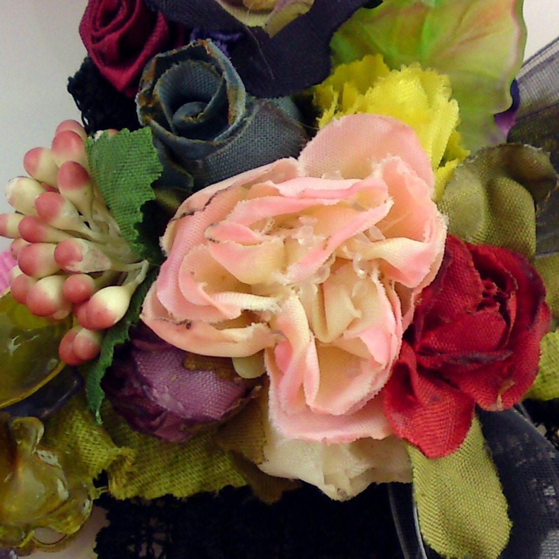 Millinery Necklace Romantic Floral Victorian Bib Garland Necklace