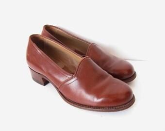 VINTAGE SWEDISH SHOES / Brown leather shoes / 30s / 40s / Size 6 / Label Lejonskor / Heels