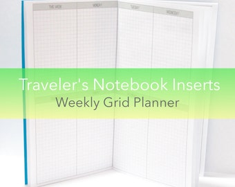 Weekly Vertical Planner -- Grid {A6 Size} Traveler's Notebook Insert Booklet // Choose Cover & Paper Colors!