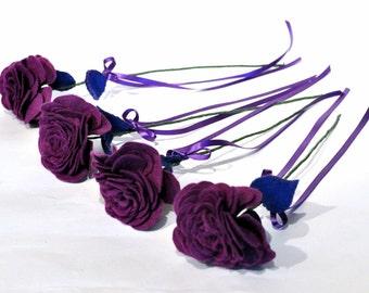 Purple Felt Rose /  Everlasting Rose / Forever flower / Purple bridal flowers / felt bouquet / unique wedding flowers / Bridesmaid bouquet