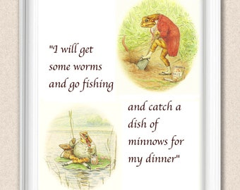 Jeremy Fisher Beatrix Potter Print Nursery Art Selection of Sizes Available A110