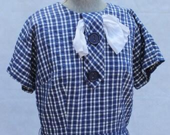 "Blue Check dress by Manford 32""W"