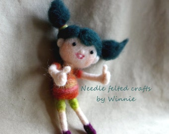 Needle felted cute doll- Two thumbs up handmade OOAK wool sculpture