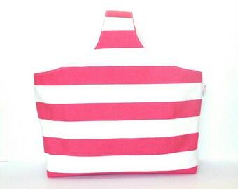 SALE!! Pink Polka Dots Knitting Project Bag, Knitting Tote Bag Canvas Tote, Reversible Tote Bag, Knitters Tote Bag, Market Bag, Yarn Bag