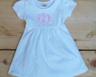 White Monogrammed Cotton Cap Sleeve Dress For Baby Girl 3 Months-18months in Hot Pink  3 months-4T in White
