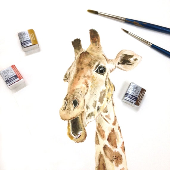 Items Similar To Original Watercolor Giraffe Home Decor On