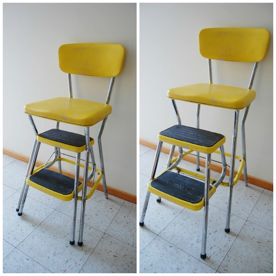 Retro Yellow Step Foot Stool Cosco Brand Tall By
