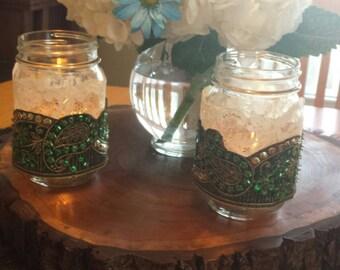 Lace and Paisley Ribbon Mason Jar Covers/Sleeves