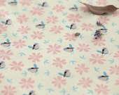 Birds and Flower Pattern Cotton Fabric by Yard AE26