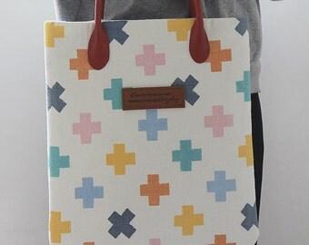 Scandinavian Style Pastel Color Cross Pattern Fabric by Yard