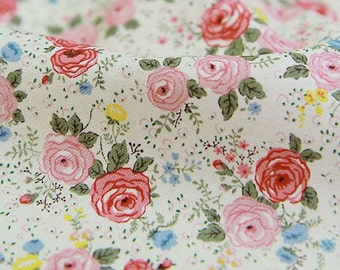 Little Roses Pattern Cotton Fabric by Yard (Pink) AE32