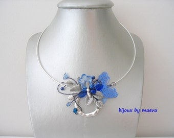 Blue fancy necklace jewelry designer light blue and dark blue Silver Ring