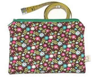 Floral brown zipper pouch