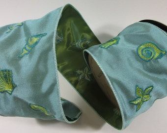 """Blue Yellow Embroidered Seashells on Blue Green Taffeta Wire Edge Ribbon or Trim by D Stevens 4"""" x 10 yards"""