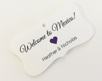Destination Wedding Tags, Hotel Bag Tags, Welcome Wedding Tags, Custom Favor Tags  (FR-056)