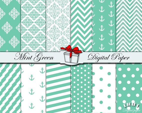 Mint green digital paper Mint chevron Mint green polka dot fabric prints Mint to be mints Mint wedding invitation Mint party supplies favors