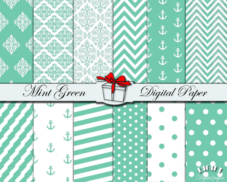 mint green digital paper mint chevron mint green polka dot. Black Bedroom Furniture Sets. Home Design Ideas