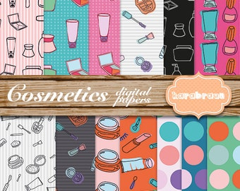 Cosmetics digital papers, scrapbooking, party supplies, fashion, invitations, wrapping paper [XZ15]