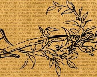 Vintage Sword and Branch Vector Image/Clip Art - INSTANT DOWNLOAD