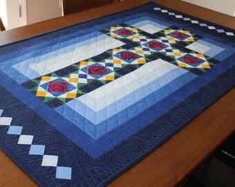 "Cross Quilt Pattern - Cross in Window - Stained Glass Cross - Wall Hanging: 30""x50"""