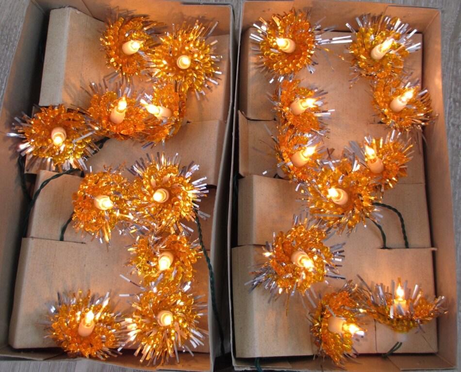 1960 Novelty Lighting : 2 Sets Gold Starburst 1960 s/70 s Christmas by hauntedlampvintage