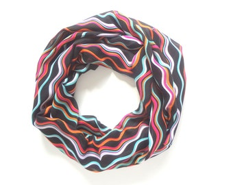 Colorful Scarf, Rainbow Scarf, Funky Scarf, Multicolor Scarf, Wavy Stripes, Green, Black, Purple and Neon, Handmade