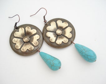Turquoise Tear Drop Unique Earrings Oxidized Bronze Flower Earrings Contemporary Metalwork Earrings with Turquoise Drop Beads