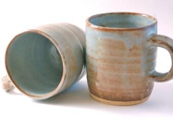 Pair of Stoneware Mugs in Light Blue Shino