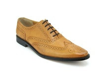 Custom made Tan Cow Leather Oxford Style Shoes lace up
