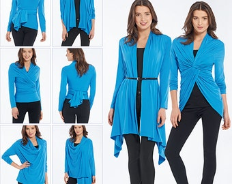 Simplicity Pattern 1065 Misses' Knit Wrap and Tie Cardigan with Multiple Variations