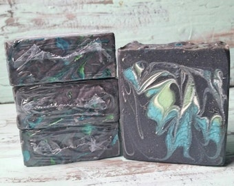 Aloe Vera Soap with Activated Charcoal, Bamboo Charcoal Soap, Mens Soap, Artisanal Soap, Luxury Soap, Handcrafted Soap - Dark Blue