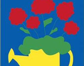 Watering Can Handcrafted Applique House Flag