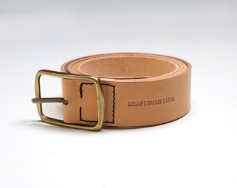 Leather Belt 40mm, Vegetable-tanned Leather, Handmade, Hand-stitched, Natural