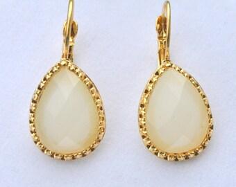 ON SALE Teardrops earrings, vintage style, gold framed Ivory earrings, glass beaded earrings, Christmas gift.
