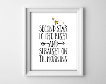 "INSTANT DOWNLOAD 8X10"" printable digital art - Second star to the right - Peter Pan quote - Black and White with yellow stars - Nursery art"
